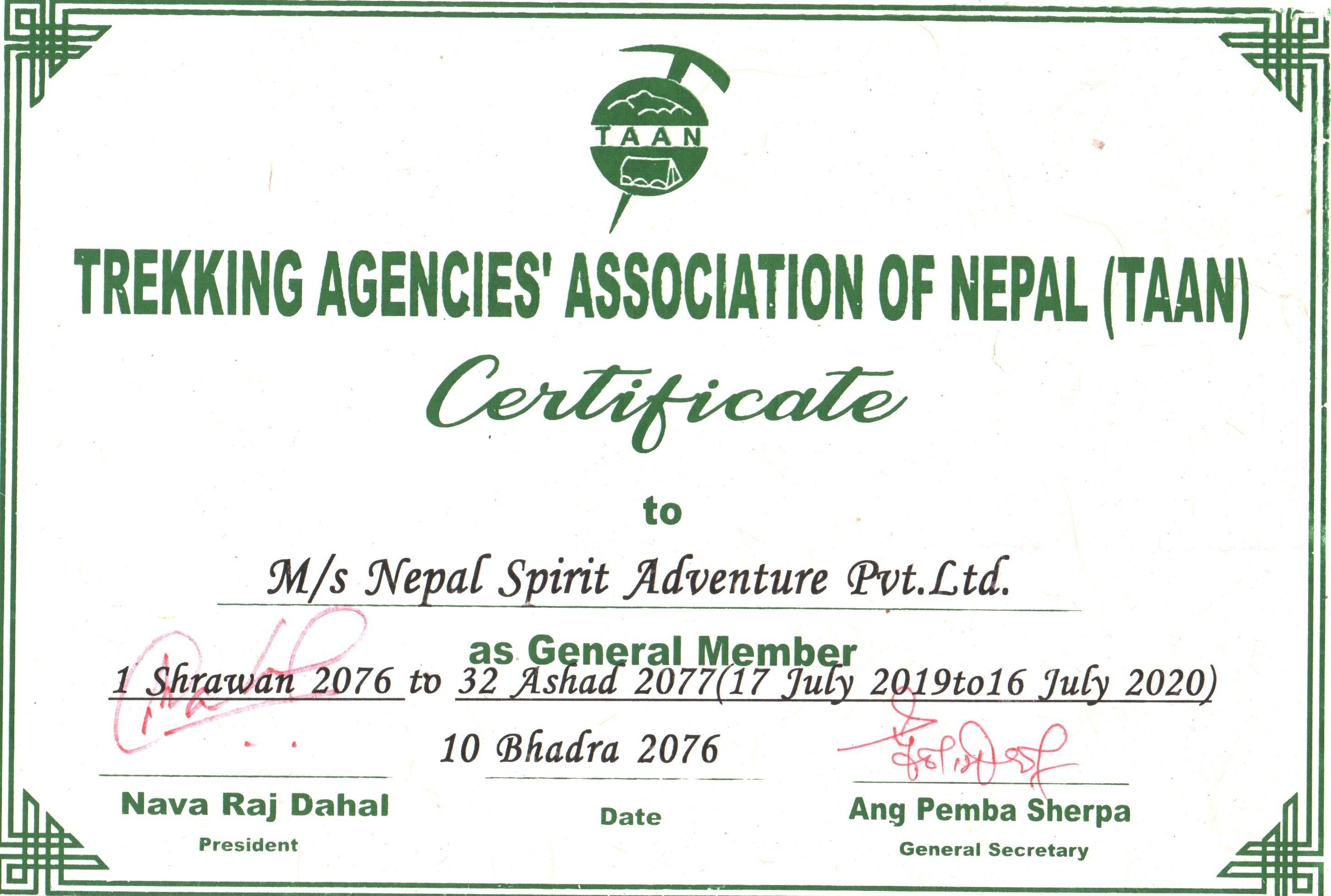 Trekking Agencies' Association of Nepal (TAAN)