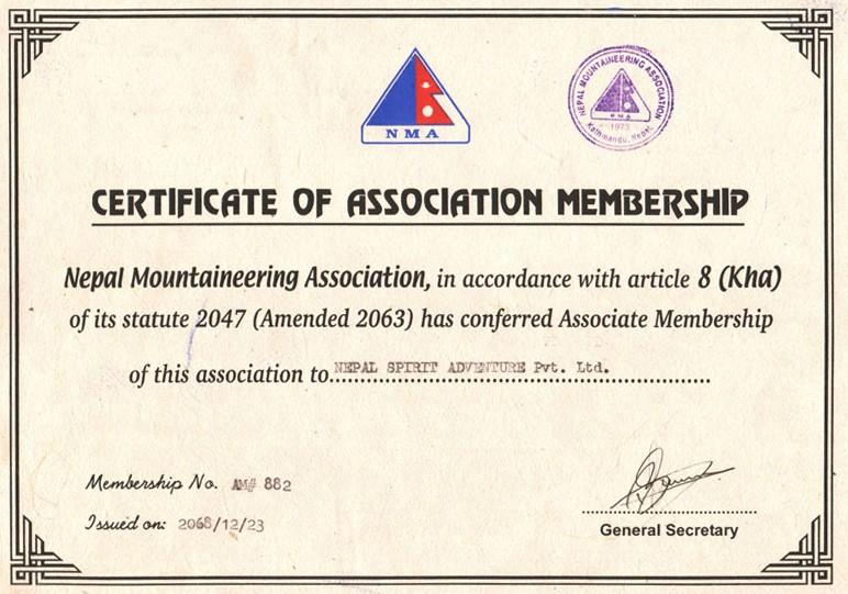Certificate of Association Membership